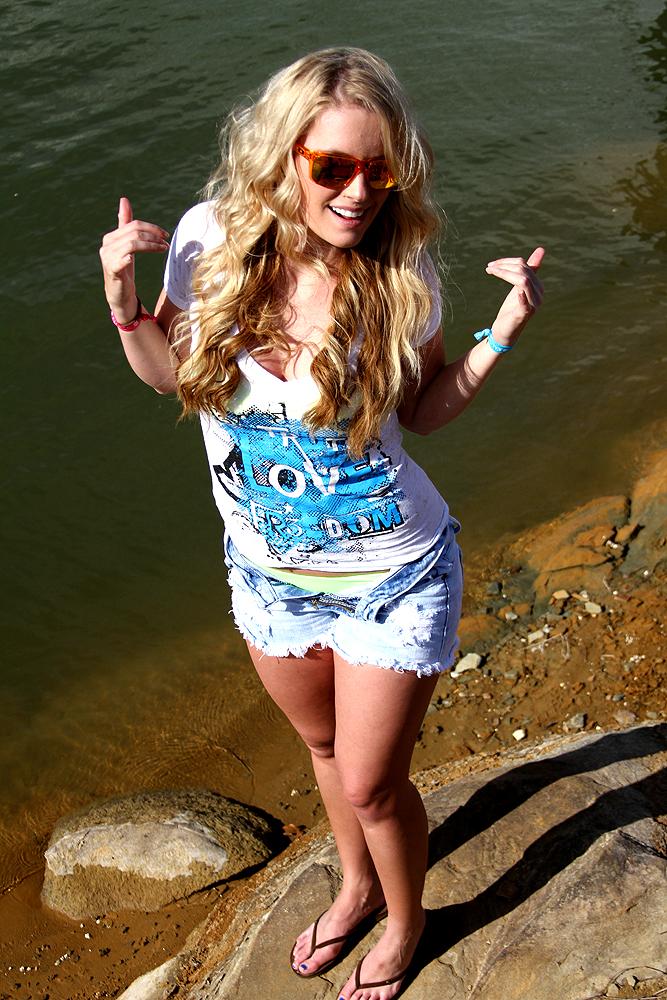 Elevated clothing blonde wakeboarder photo shoot