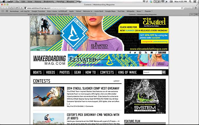wakeboarding magazine advertising elevated clothing