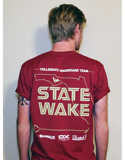 elevated clothing fsu wake team t-shirt wakeboard tee