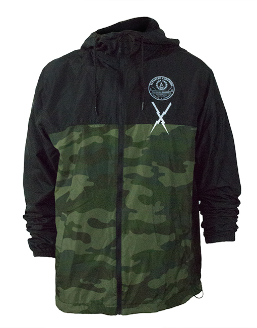 authentic mens limited edition camo zip-up windbreaker streetwear action sports clothing