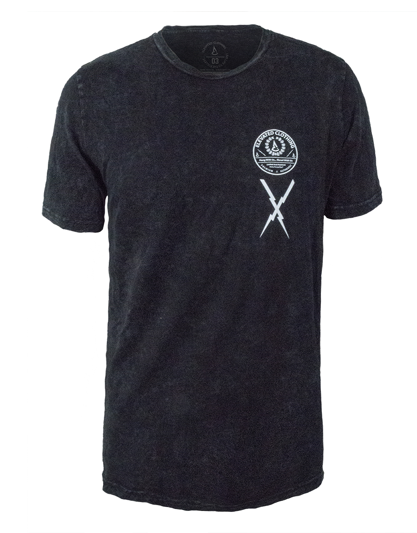 mens mineral wash black t-shirt streetwear action sports elevated authentic limited tee