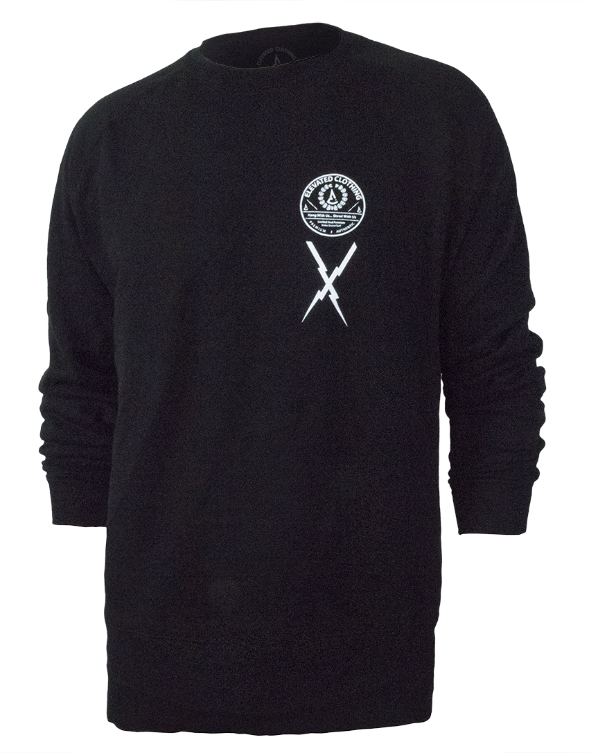 men's crewneck sweatshirt extended length, longer cut, streetwear action sports limited clothing