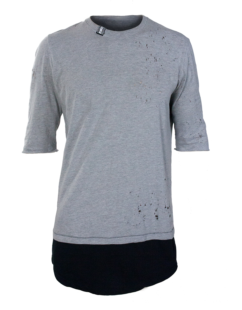 elevated clothing distressed 5/8 sleeve double layer scoop tee