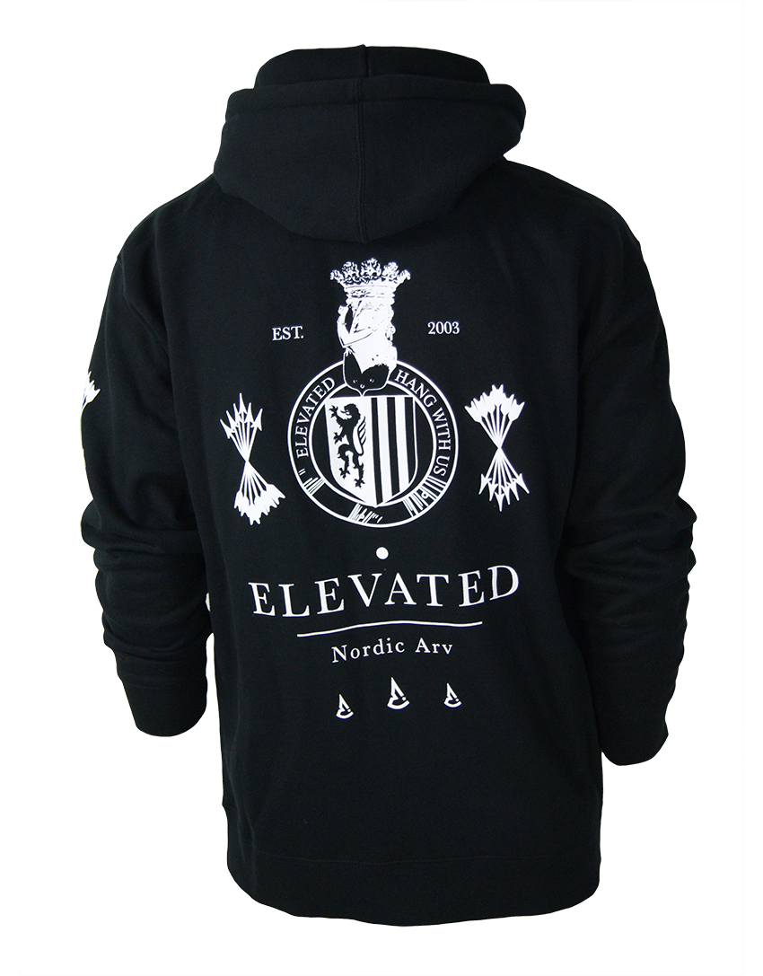 elevated clothing northland nordic arv heritage streetwear snow sports limited full-zip black hoodie coat of arms crest